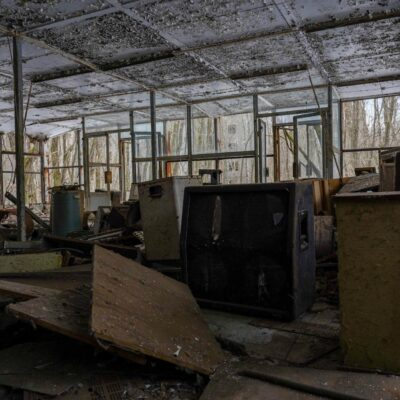 inside furniture and electronics store in pripyat