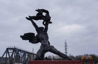 monument near chernobyl cooling pond