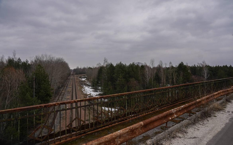 Chernobyl Bridge of Death - view on Chernobyl Power Plant
